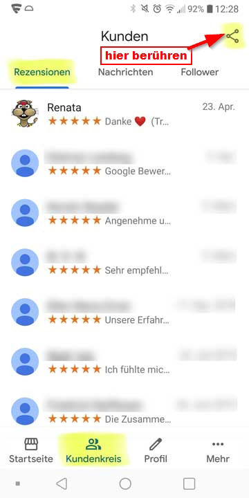 Screenshot Mobilgerät die Google My Business App My Business
